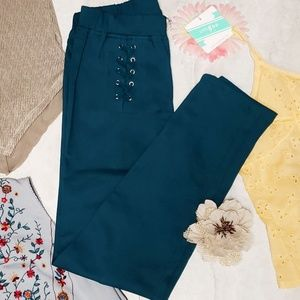Umgee Teal Lace Up Detailed Leggings
